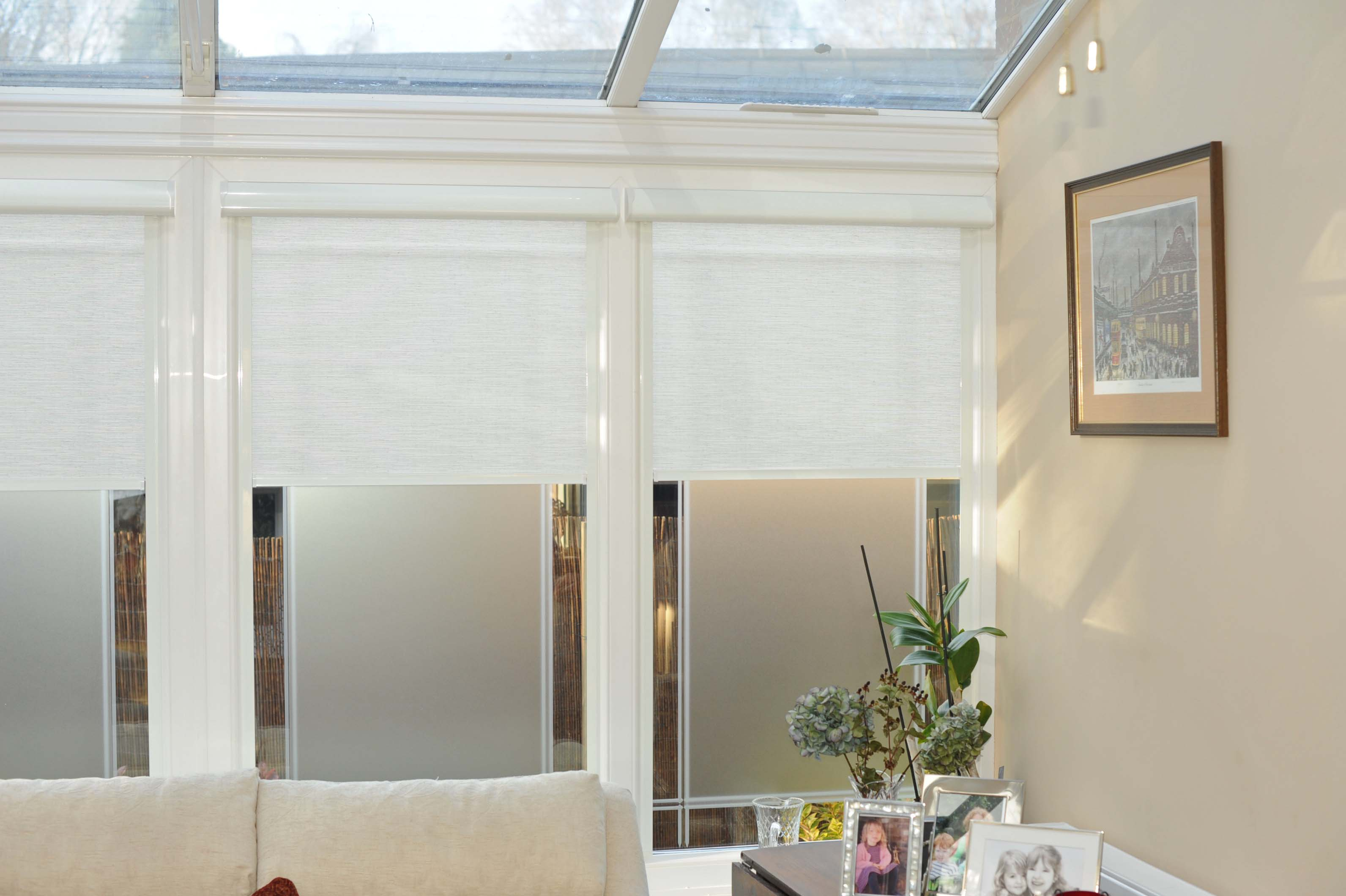 news shading places discrete roller blinds in conservatory